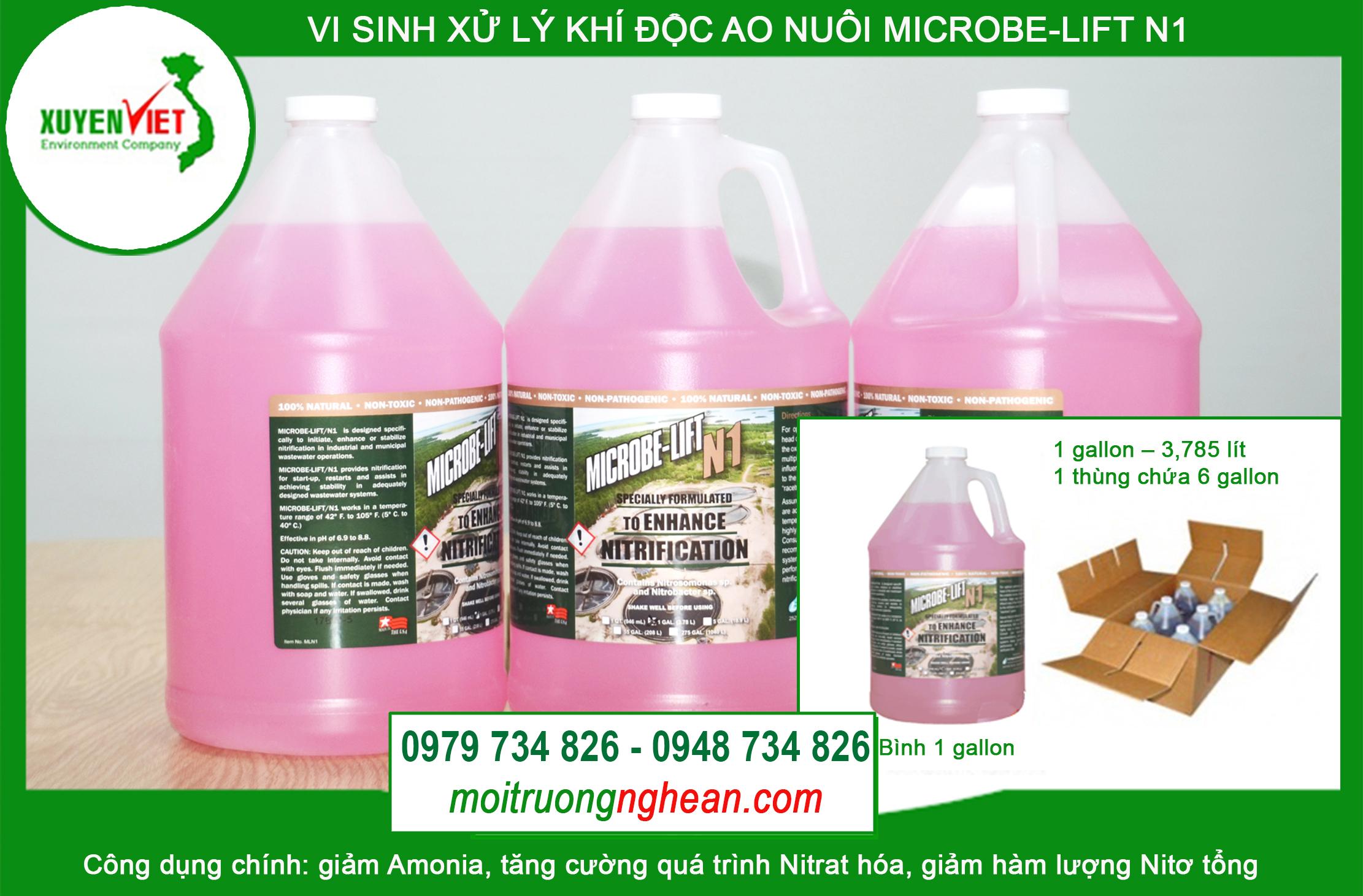Men vi sinh xử lý khí độc ao nuôi Microbe-lift N1